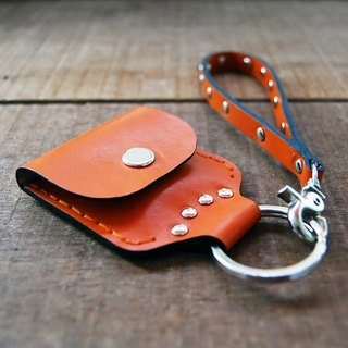 Punk leather keychain case (orange)
