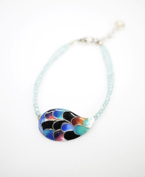 Drop of Tears tears colored enamel bracelets (blue line)