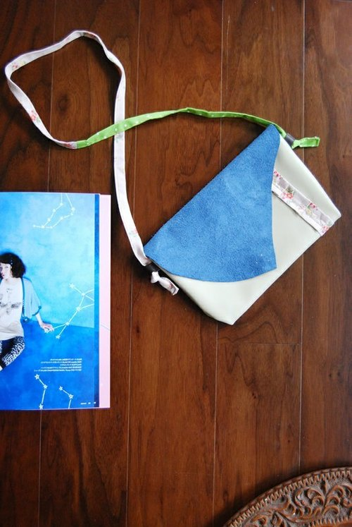 Sapphire blue leather bag small walk