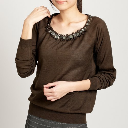 KIINO elegant diamond collar round neck knit tops crimping design - dark coffee