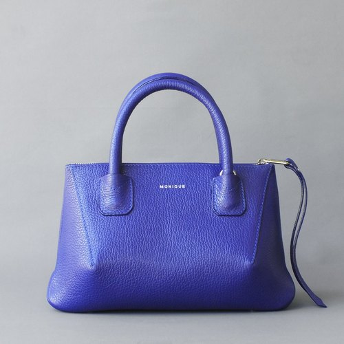 Penta Crossbody Bag in Purple Blue Full-grain Leather