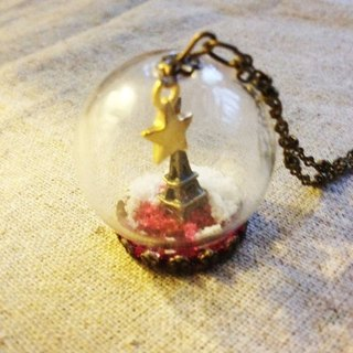 [Imykaka] ♥ crystal ball star Eiffel Tower necklace small Valentine's Day gift