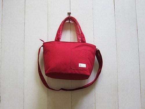 Dachshund zipper canvas tote bag + front pocket - Small (+ burgundy soft pink) + adjustable long strap