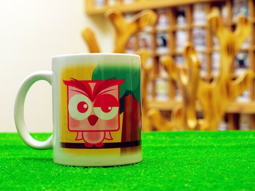 "Guardian Series ""noncute‧ zoo"" Owl (cat Xiaoying) ‧ pink powder funny - Mug (Straight 300ml)"