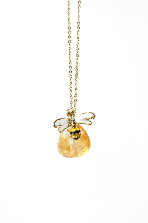 Citrine Bee Necklace, November Birthstone