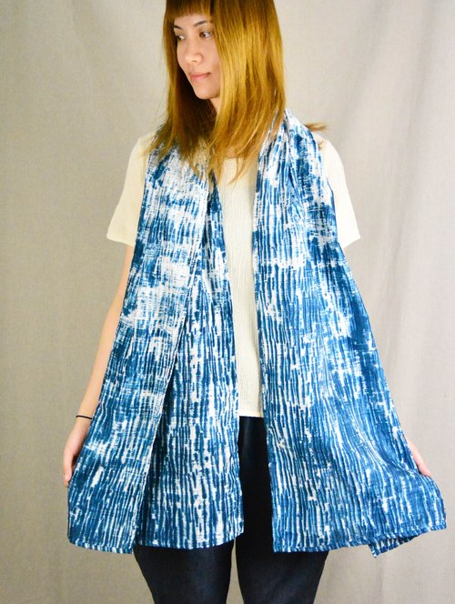 Blue dye silk scarf shawl _ fair trade