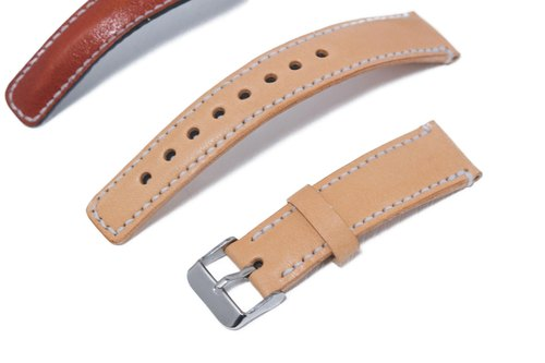 Hand strap watches, vegetable tanned leather