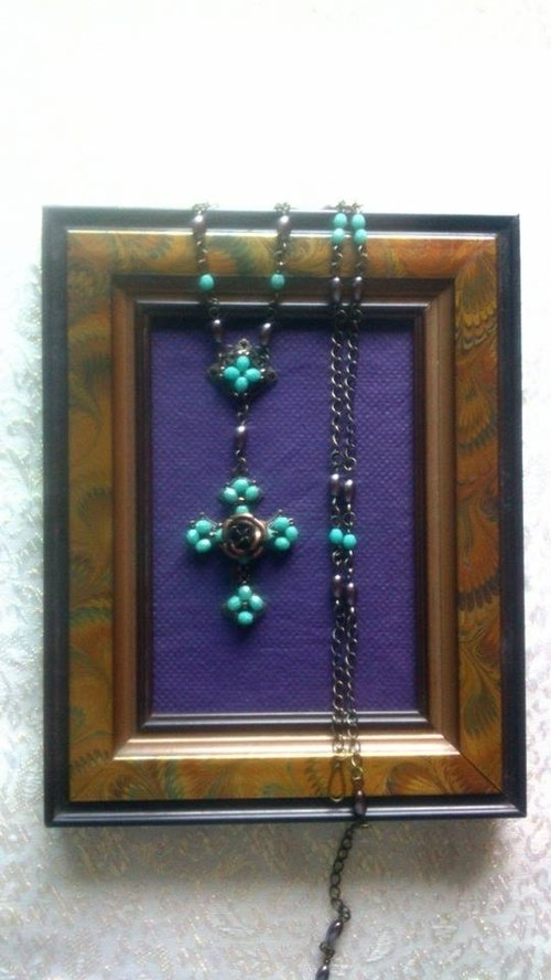 Cross Rose hand made necklace - turquoise