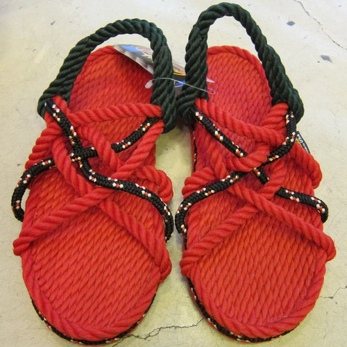 Red and black rope sandals
