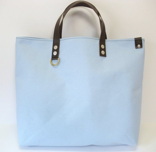 Canvas+Leather Handle-ToteBag/Sax Blue
