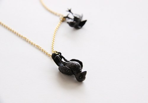 Double Black Crows Death Hanging Pendant / Necklace / Jewelry