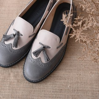 [Retro party] carved tassel loafers - powder / gray