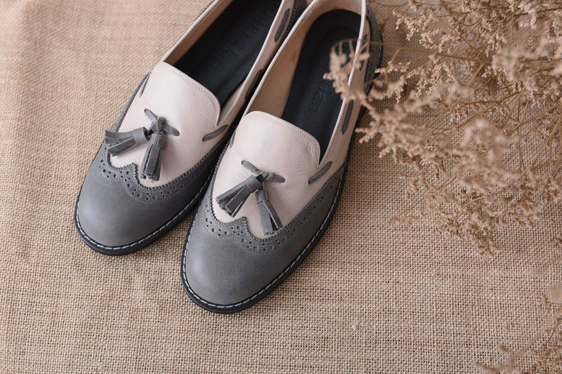 [Retro Party] carved stream Sule Fu shoes - pink skin / gray