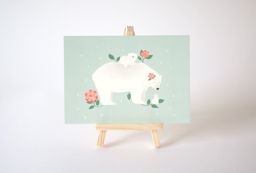 [Horned forest] little ball of fur polar bear postcard Camellia (single)