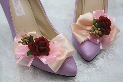 Red Rose bow clip heels shoes decorated shoes flower jewelry hand-made wedding bridal shoes