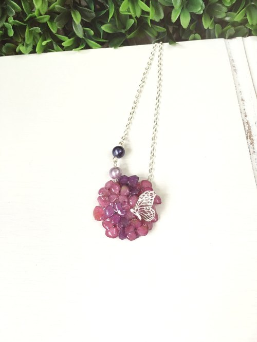 *Haku‧Neko*[version] dark pink mini stereo mini x purple hydrangea necklace (real flowers series)
