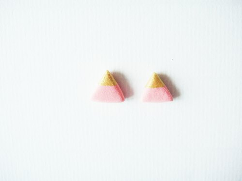 Small triangular earrings - pink gold / manual hand-made earrings / girls gift ornaments