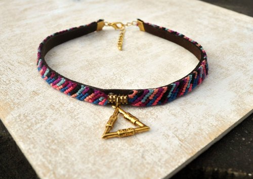Necklace - woven diagonal stripes