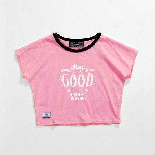 "Minibite ""SQUARE"" checkered sleeveless T-shirt - Stay good (Pink)"