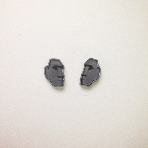 Elmo Handmade Easter Island statue is not allergic earrings (clip-on can be changed)
