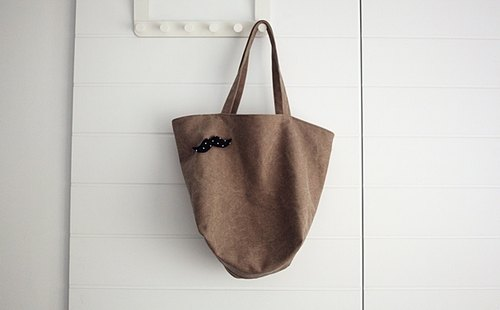 hairmo. Brown corrugated whitewashed minimalist large tote bag - Zip subsection (Summer Edition)