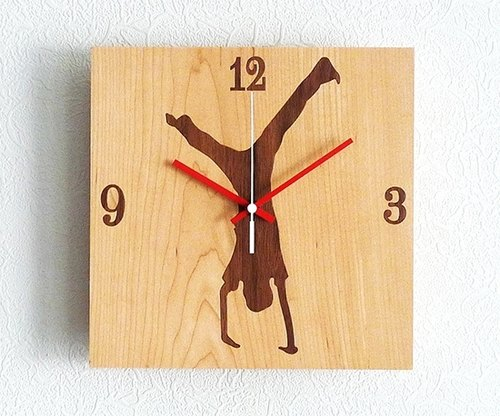 "Solid wood wall clock custom clock manually count money when carefully selected top European and American wooden logs wood making ""enlivened Dance"""