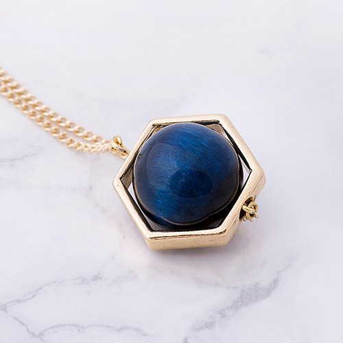 ESCA • Planet series DARK BLUE Blue Tiger Eye Necklace