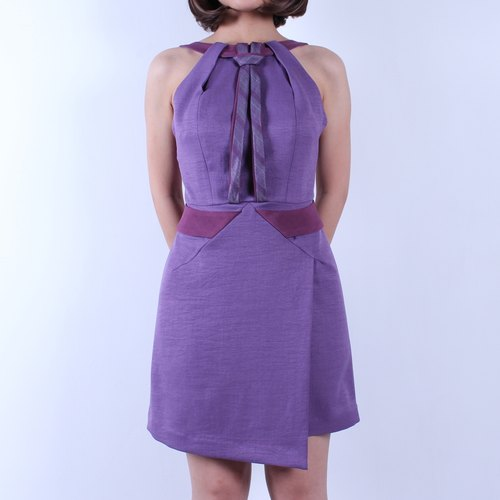 DK Danny Jacques spring ladies retro collar straps purple dress Slim