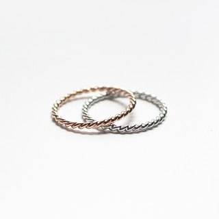 Combination Series - Sterling Silver Twist Ring Set / Silver and Rose Gold