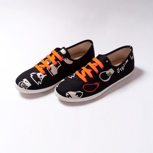 [hanamikoji shoes] Comfortable Casual Flat Shoes Spring Black and Orange Japan Cotton