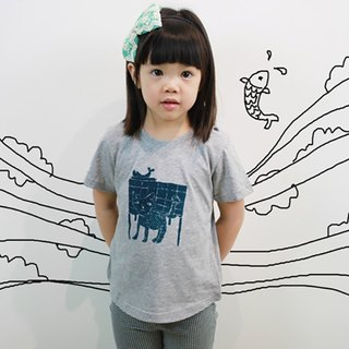 Children's Cotton Handmade Textured T-Shirt - Childlike Cat's Afternoon Tea
