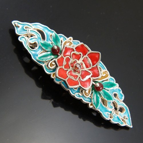 Enameling Rose Silver Hair Pin