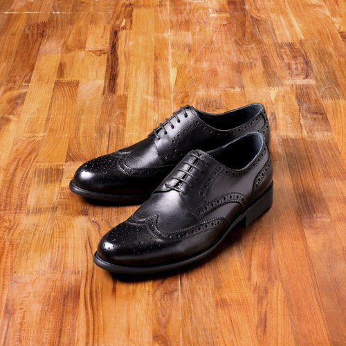US-‧ Vanger elegant hand-made three-dimensional brush-wing pattern carved black derby shoes ║Va205