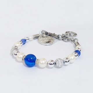 Ella Wang Design Mediterranean style with pearl necklace - blue and white pet collar fashion Hand Size: XS ~ M +