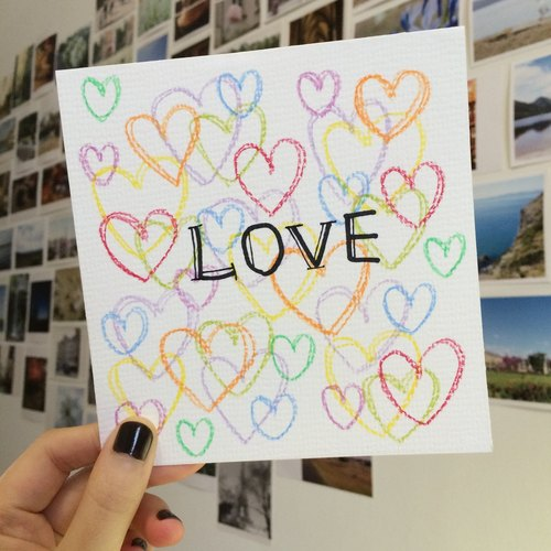 Hand-painted color card .43-LOVE love