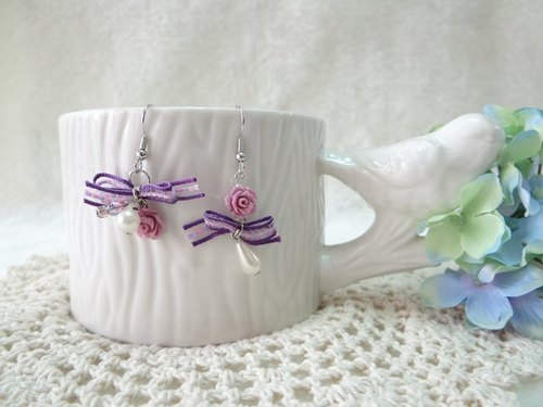 Butterfly purple ribbon roses. Earrings