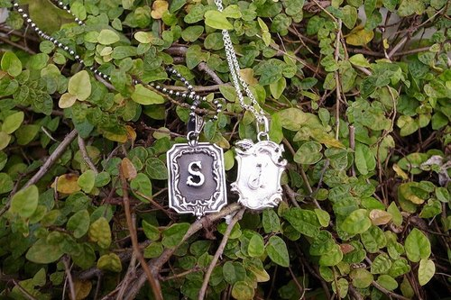 Valentine's Special~Silver Retro Frame Initial Necklaces(Representing Courage and Love)