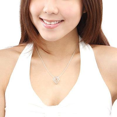 Hong Kong Design Free Postage diamond-shaped 925 sterling silver necklace (22 & # 39;) minimalist design
