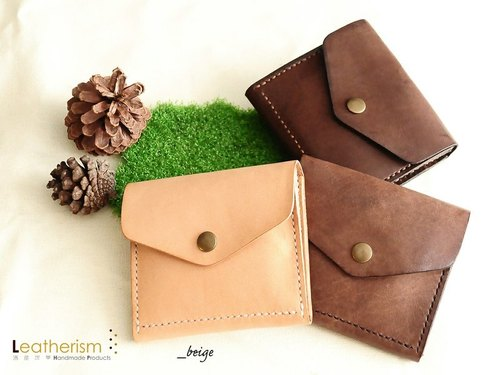 手縫植鞣牛皮銀包系列之Beige《壹》by Leatherism Handmade Products