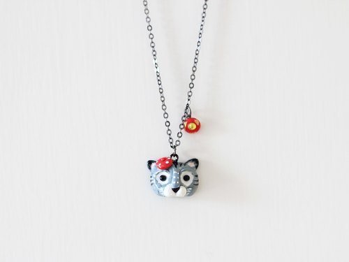 Cat necklace - three-dimensional handmade polymer clay necklace