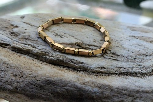 Rectangular brass bracelet ~