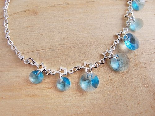 Star filled sky star chain [CB0006] x x powder blue round Swarovski crystal pieces x hypoallergenic anti-fade creative handmade silver bracelet x