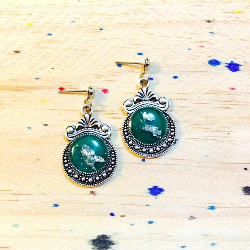Retro silver series || teal || hanging earrings