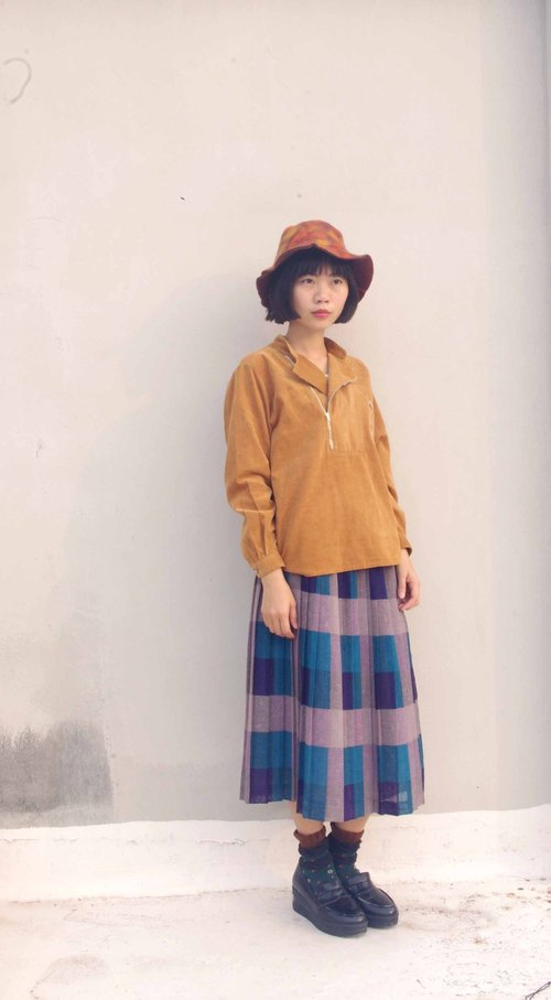 4.5studio- paddy rice to Geocaching old clothes - geometric blocks of color printing pleated skirt