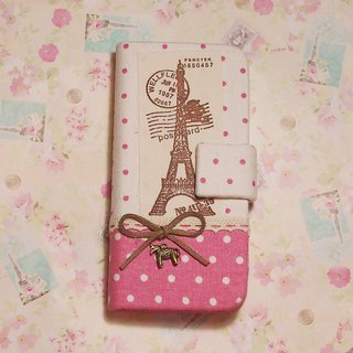Pink Polka Dot birthday Eiffel Tower phone holster flip leather phone sets Apple iphone 6 iphone 6 + 6 Plus 5s 5 4 s Samsung galaxy S6 S5 S4 S3