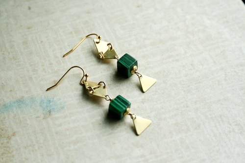 Malachite Malachite trigonometry brass earrings