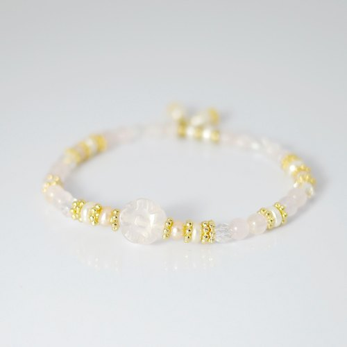 [ColorDay] bright cherry - pink crystal _ _ white crystal pearl bracelet