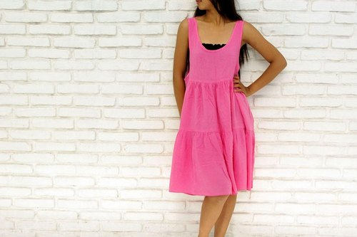 Tank top tiered dress <Cherry Pink>