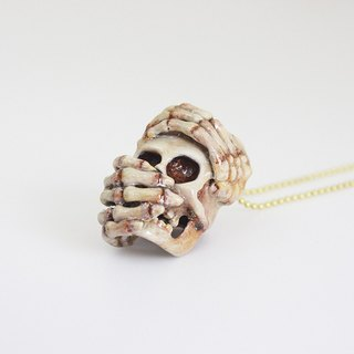 Hiding Face Skeleton Ghost Skull Pendant with Hand-craft Painted Color / Jewelry / Necklace