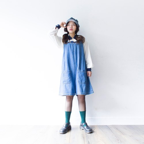 Banana cat. Banana Cats sky blue 100% cotton plain big pocket vest one-piece vintage skirts